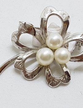 Sterling Silver Pearl Flower Brooch - Vintage