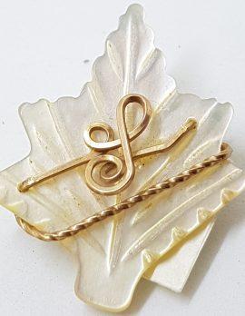 Mother of Pearl Carved Leaf Brooch
