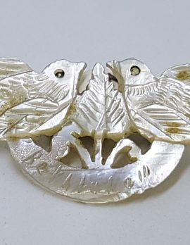 Mother of Pearl Carved Two Birds Brooch - Ornate and Engraved