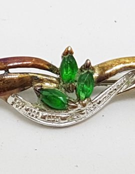 Sterling Silver and Gold Plated Green Cluster Bar Brooch