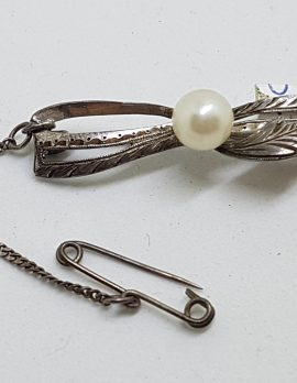 Sterling Silver Pearl Bar Brooch - Vintage