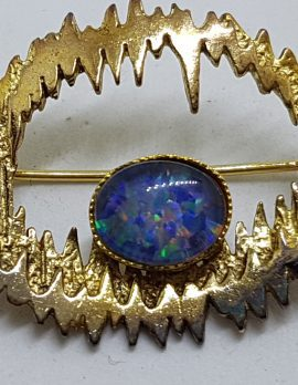 Sterling Silver & Gold Plated Oval Opal Triplet Brooch - Vintage
