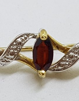Sterling Silver and Gold Plated Garnet Bar Brooch