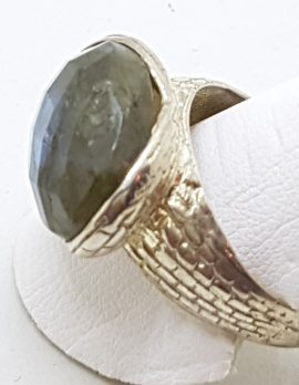 Sterling Silver Oval Faceted Labradorite Ring