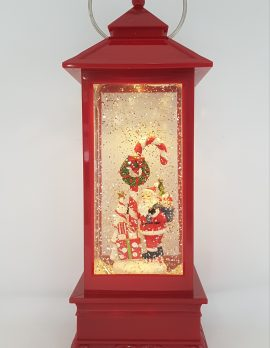 Christmas Glitter Lantern – Santa with a Candy Cane – Christmas Ornament Design #13