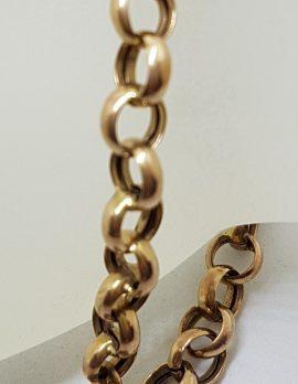 9ct Rose Gold Belcher Link Bracelet with Shield Shape Padlock Clasp - Antique / Vintage