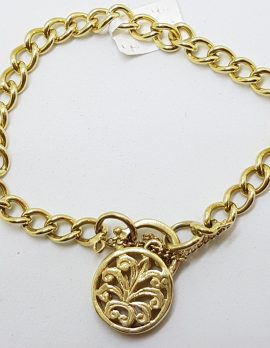 9ct Yellow Gold Curb Link Bracelet with Ornate Filigree Round Shape Padlock Clasp - Antique / Vintage