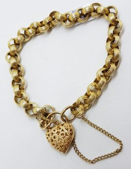 9ct Yellow Gold Patterned Belcher Link Bracelet with Ornate Filigree Heart Shape Padlock Clasp - Antique / Vintage