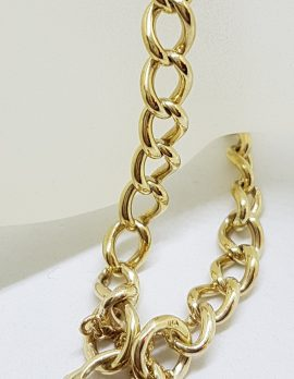 9ct Yellow Gold Curb Link Bracelet with Thick Heart Shape Padlock Clasp