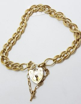 9ct Yellow Gold Double Curb Link Bracelet with Heart Shape Padlock Clasp