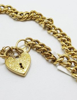 9ct Yellow Gold Long Curb Link Bracelet with Heart Shape Padlock Clasp