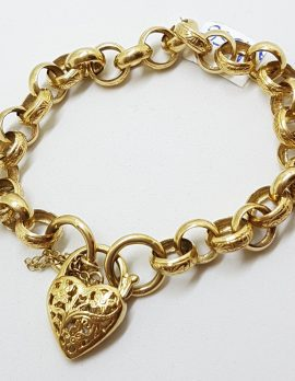 9ct Yellow Gold Ornate Belcher Link Bracelet with Filigree Heart Shape Padlock Clasp