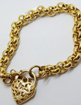 9ct Yellow Gold Belcher Link Bracelet with Filigree Heart Shape Padlock Clasp