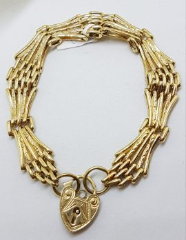 9ct Yellow Gold Ornate Five Row Gate Link Bracelet with Heart Shape Padlock Clasp