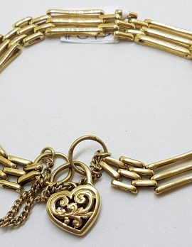 9ct Yellow Gold Ornate 3 x 2 Row Gate Link Bracelet with Filigree Heart Shape Padlock Clasp - Antique / Vintage