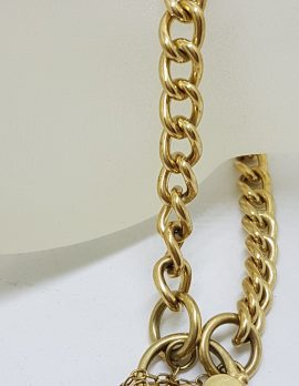 9ct Yellow Gold Curb Link Bracelet with Heart Shape Padlock Clasp