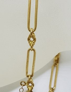 9ct Yellow Gold Oval and Twist Link Bracelet with Heart Shape Padlock Clasp