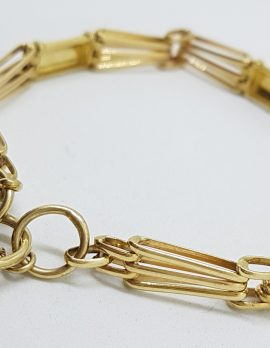 9ct Yellow Gold Gate Link Bracelet with Puffy Heart Shape Padlock Clasp