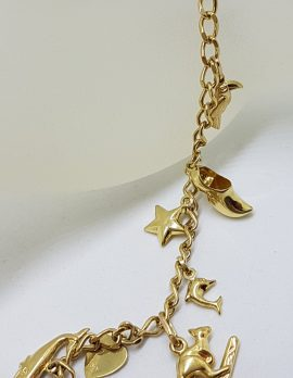 9ct Yellow Gold 10 Charms Bracelet with Heart Shape Padlock Clasp