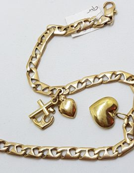 9ct Yellow Gold 2 Charms Bracelet with Heart & Love, Hope, Charity Charm