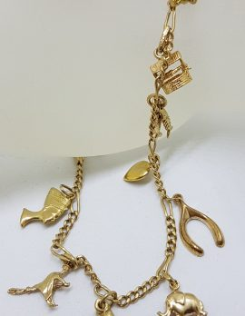 9ct Yellow Gold Fine 12 Charms Bracelet - Vintage