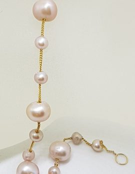 9ct Yellow Gold Pink Pearl Bracelet