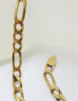 9ct Yellow Gold 3 x 1 Figaro Link Bracelet