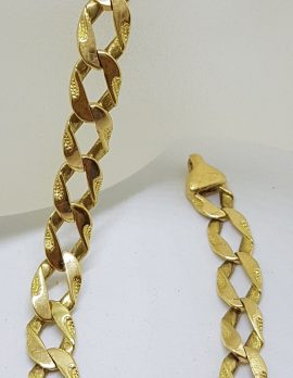 18ct Yellow Gold Patterned Long Flat Curb Link Bracelet - Ladies / Gents