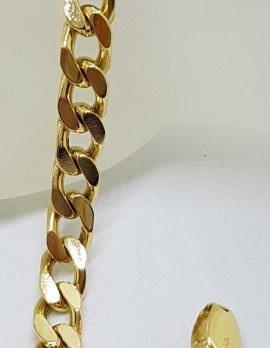 18ct Yellow Gold Flat Curb Link Bracelet - Ladies / Gents