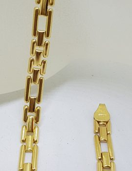 18ct Yellow Gold Rectangular and Square Link Bracelet - Ladies / Gents