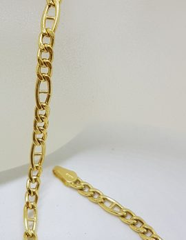 18ct Yellow Gold Figaro Anchor Link Bracelet