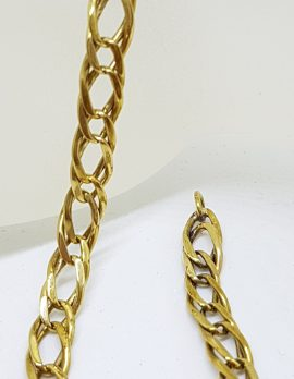 9ct Yellow Gold Ornate Long Curb Link Bracelet - Ladies / Gents