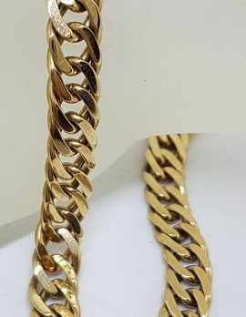 9ct Yellow Gold Long Flat Curb Link Bracelet - Ladies / Gents