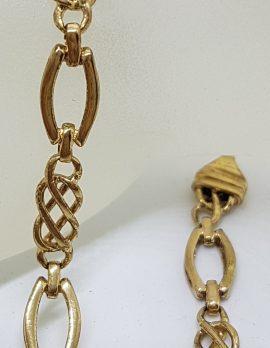 9ct Rose Gold Ornate Link Bracelet - Vintage