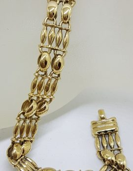 9ct Yellow Gold Ornate Wide Link Bracelet - Vintage