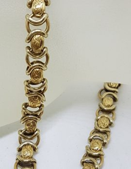 9ct Yellow Gold Ornate Link Bracelet with Bolt Clasp - Vintage