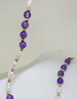 9ct Yellow Gold Pearl and Amethyst Bead Bracelet