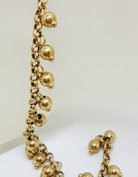 9ct Yellow Gold Little Ball Charms Bracelet - Vintage