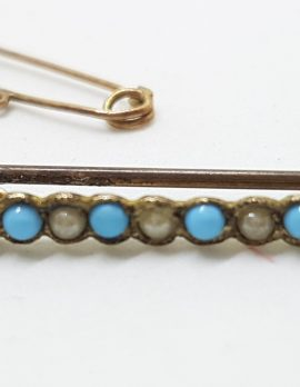 9ct Yellow Gold Turquoise and Seedpearls Bar Brooch – Antique / Vintage