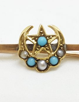 9ct Yellow Gold Turquoise and Seedpearls Star & Crescent Moon Bar Brooch – Antique / Vintage