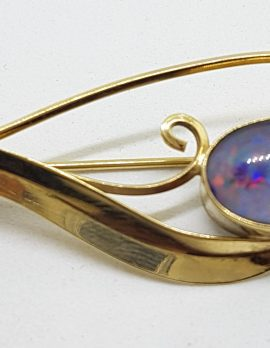 9ct Yellow Gold Blue Opal Swirl Brooch – Antique / Vintage