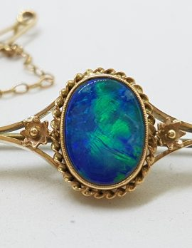 9ct Yellow Gold Solid Blue Opal Bar Brooch – Antique / Vintage