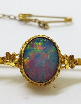 9ct Yellow Gold Blue Opal Bar Brooch – Antique / Vintage