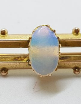 9ct Yellow Gold Solid Opal Bar Brooch – Antique / Vintage