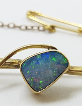 9ct Yellow Gold Blue Opal Twist on Bar Brooch – Antique / Vintage