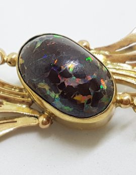 9ct Yellow Gold Boulder Opal Ornate Twist/ Bow Brooch – Antique / Vintage