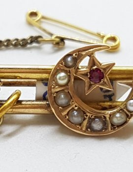 9ct Yellow Gold Garnet and Seedpearl Star and Crescent Moon Bar Brooch – Antique / Vintage