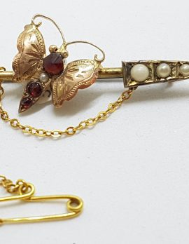9ct Yellow Gold Garnet and Seedpearl Butterfly on Arrow Bar Brooch – Antique / Vintage