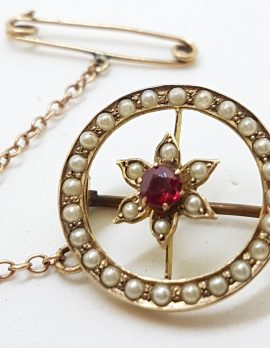 9ct Yellow Gold Garnet and Seedpearl Flower in Round Brooch – Antique / Vintage