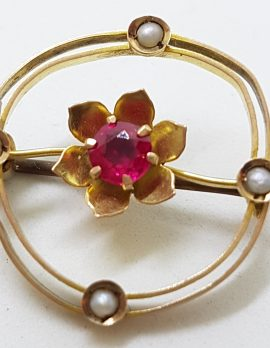9ct Yellow Gold Red and Seedpearl Flower in Round Brooch – Antique / Vintage
